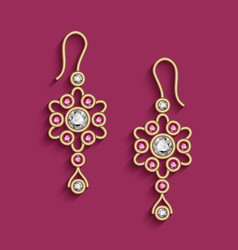 vintage gold jewelry earrings with ruby gems vector image