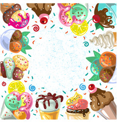 vintage ice cream frame vector image