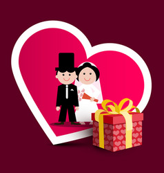 wedding greeting card with paper gift box with vector image