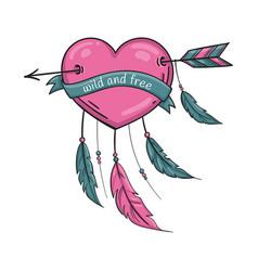 wild and free dreamcatcher valentine heart vector image