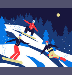 winter sports snowboarding - flat design style vector image