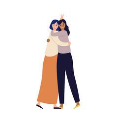 women friends happy young girls hugging happy vector image
