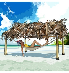 cartoon woman resting in a hammock on the beach vector image
