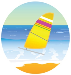 sailboat on the paradise beach vector image vector image