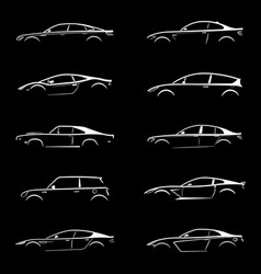 set of white silhouette car on black background vector image
