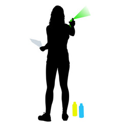 silhouette woman holding a spray on a white vector image vector image