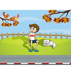 A smiling boy and a sleeping cat vector image vector image
