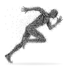 a sprinter made from dots isolated on white vector image