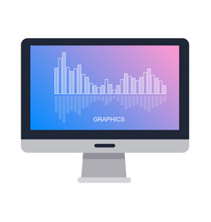 computer screen isolated with graphics on white vector image