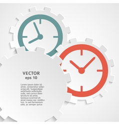 Concept of time clock on the gear icon cutaway vector