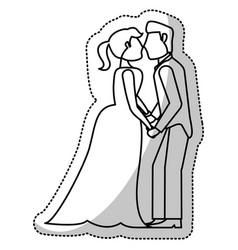 Couple wedding romantic outline vector