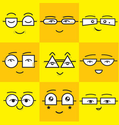 cute yellow and orange square smiling faces vector image