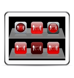 Dinner red app icons vector image