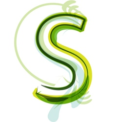 Green letter S vector image vector image