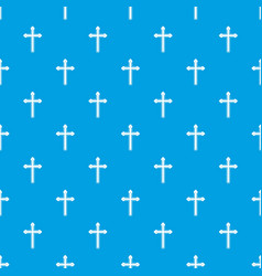 holy cross pattern seamless blue vector image