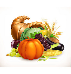 Horn of plenty Harvest fruits and vegetables vector image vector image