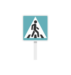 pedestrian road sign icon flat style vector image vector image