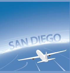 san diego skyline flight destination vector image