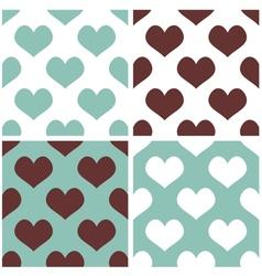 Tile hearts background set vector