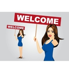 woman with welcome text message vector image vector image