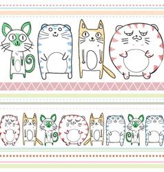 cats line art pattern vector image vector image