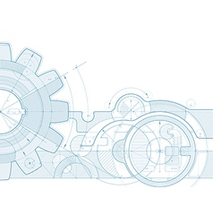 gear draft background vector image vector image