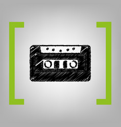 cassette icon audio tape sign black vector image vector image