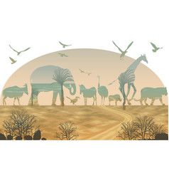 double exposure wild animals for your design vector image vector image