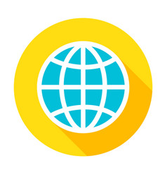globe flat circle icon vector image