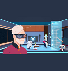 man in vr glasses looking at group of robots vector image vector image