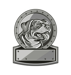 Rottweiler Guard Dog Shield Metallic Circle Retro vector image vector image