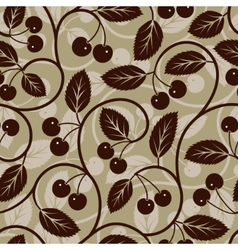 seamless cherry with leaf background vector image vector image