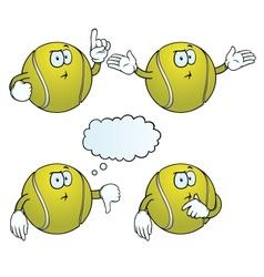Thinking tennis ball set vector image