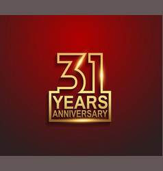 31 years golden anniversary line style isolated vector