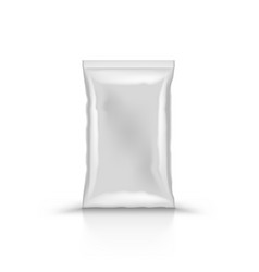 3d empty vertical sealed plastic foil bag vector