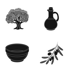 An olive tree a branch with olives a vessel and vector