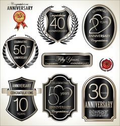 Anniversary black label set vector image