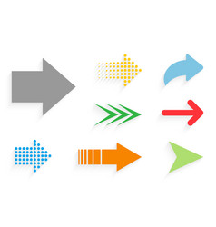 Arrow color icon with shadow arrow in flat style vector