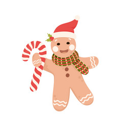 Baked gingerbread man in scarf holding candy cane vector