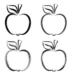 Black brush strokes apples vector