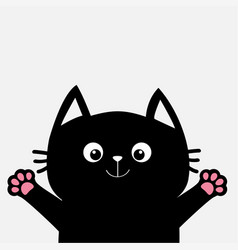 black cat ready for a hugging open hand paw print vector image