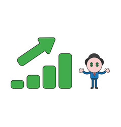 Businessman character with dollar money eyes and vector