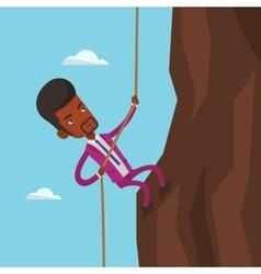 Businessman climbing on the mountain vector
