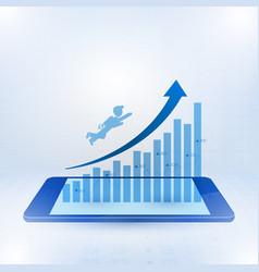 businessman flying toward top business vector image