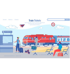 Buying train tickets for train station cartoon vector