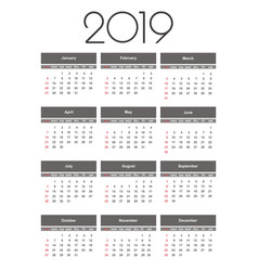 calendar 2019 year simple template vector image