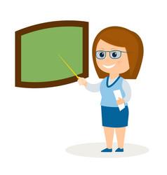cartoon teacher at the board vector image