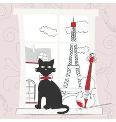 Cat on the window in Paris vector