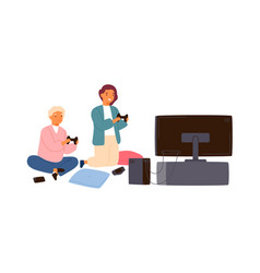 children playing video game with joysticks at home vector image