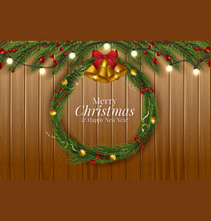 christmas and happy new year garland and border vector image